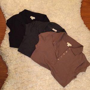 Bundle of 3 polos - black/gray/brown - med - EUC